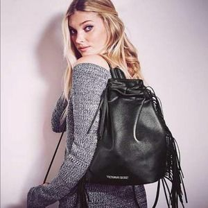 Victoria's Secret Black Leather Tassel Backpack